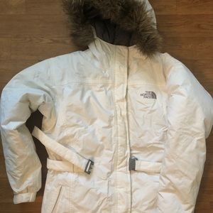 The North Face White Down Ski Jacket Fur